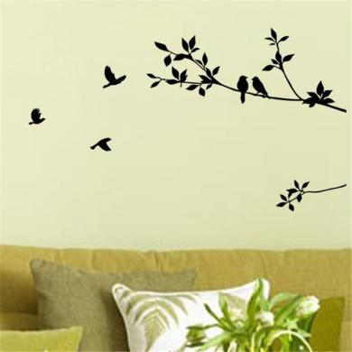 Birds Flying Black Tree Branches Wall Sticker Vinyl Art Decal Mural Home Decor