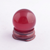 Red Crystal Glass Ball W Wooden Stand Dia:3cm SKU:Y1401