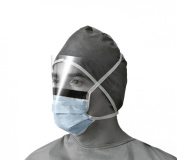 Medline Industries NON27405 Prohibit X-Tra Fluid Protection Surgical Face Mask with Eyeshield, Anit-Fog, Cellulose, Latex Free, Blue
