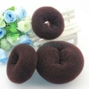 Hot Hair Donut Bun Ring Styler Maker Brown 1 Set 3 Pieces