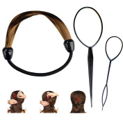 Women's Light Brown Wig Hair Rope Ring with Hair Styling Tool