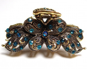 Vintage Blue colour. Crystal Butterfly Hair Claw Clip 89