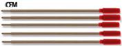 5 Quality Medium RED Ballpoint Refills for all Cross Ballpoint Pens