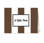 Modern Wide Stripe 'A Little Note' Chocolate - 24 Cards for $7.49 - Blank Cards w/ Grey Envelopes Included