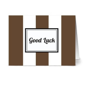 Modern Wide Stripe 'Good Luck' Chocolate - 24 Cards for $7.49 - Blank Cards w/ Grey Envelopes Included