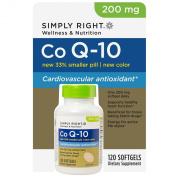 Simply Right Co Q-10 200 mg Coenzyme Cardiovascular Antioxidant 120 Softgels