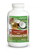 Coconut Oil 1000 mg 360 Softgels by Vita Pure - ORGANIC and EXTRA VIRGIN Softgels-Raw Unrefined Cold Pressed Extract Pills 1000 Mg -Weight Loss Diet Benefits-Best for Healthy Heart,Body,Skin,Hair-Perfectly Natural Uses For Dry Skin Care-Good for Hair C ..