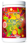 Superfood Powder Total BodyGlo for diet, weight loss, energy boost, detox or to blast away harmful free radicals from your body. Best plant based superfood nutritional supplement. 70 delicious fruits, greens & vegetables. Amazing vitamins & antioxidant ..