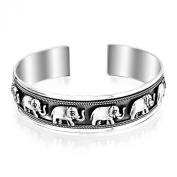 Bling Jewellery 925 Sterling Silver Lucky Elephant Antique Cuff Bracelet 15mm