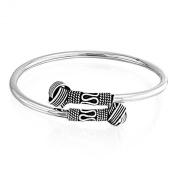 Bling Jewellery Love Knot Bali Rope Style Oxidised Cuff Bangle Bracelet Sterling