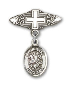 JewelsObsession's Sterling Silver Baby Badge with St. George Charm and Badge Pin with Cross