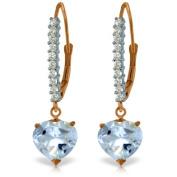 14k Rose Gold Diamond Leverback Earrings with Aquamarine Heart