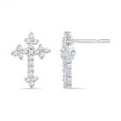Sterling Silver Round Diamond Cross Fashion Earring