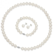 """Sterling Silver 10-11mm White Cultured Freshwater Pearl Necklace 18"""" , 7"""" Bracelet and Stud Earring Set."""