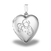 "Sterling Silver ""Mom with Two Sons"" Heart Locket 1.9cm X 1.9cm"