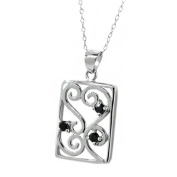 0.15 Ct Round Black Diamond Sterling Silver Pendant 46cm Sterling Silver Chain