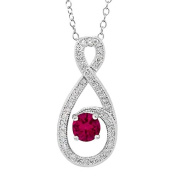 1.20 Ct Round Red Created Ruby 925 Sterling Silver Pendant with 46cm Silver Chain