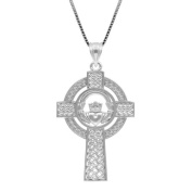 Sterling Silver Claddagh Celtic Cross Pendant with Box Chain