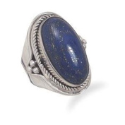 Lapis Lazuli Rope and Bead Polished Band Sterling Silver Ring