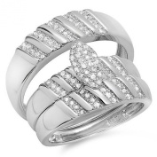 0.40 Carat (ctw) Sterling Silver Round Diamond Men & Womens Micro Pave Engagement Ring Trio Bridal Set