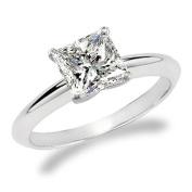 Near 1/2 Carat Princess Cut Diamond Solitaire Engagement Ring 14K White Gold (F-G, VS2-SI1, 0.45 c.t.w) Very Good Cut
