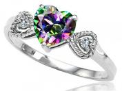 Tommaso Design Rainbow Mystic Topaz and Diamond Heart-Shape Engagement Promise Ring