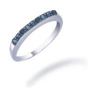 Sterling Silver Blue Diamond Wedding Band (1/4 CT) In Size 5