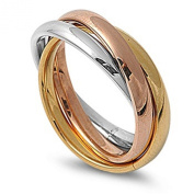3MM Stainless Steel Tri colour Gold, Rose, Silver Tone Interlocked Rolling Band Ring