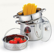 Cook N Home 02401 Stainless Steel 4-Piece Pasta Cooker Steamer Multipots with Encapsulated Bottom, 7.6l
