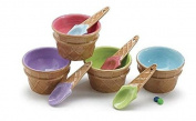 Greenco Set of 12 Vibrant Colours Ice Cream Bowls and Spoons