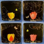 Nature's Journey Marjolein Bastin Assorted Floral Black Dessert Plates ~ Set of 4!