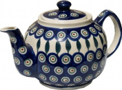 Polish Pottery Teapot From Zaklady Ceramiczne Boleslawiec #596-56 Peacock Pattern, Height