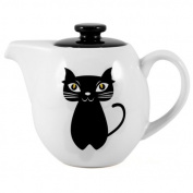 OmniWare Three-Four Teaz Cafe Cat Noir Stoneware Teapot with Infuser, 710ml