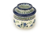 Polish Pottery Blue Tulip French Butter Dish