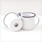 Enamelware 350ml Coffee Mug, Black Rim