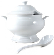 Omniware White Porcelain Covered Soup Tureen with Ladle, 2.4l