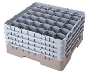 Cambro 36S1114-151 30cm Camrack Polypropylene Stemware and Tumbler Glass Rack with 36 Compartments, Full, Soft Grey