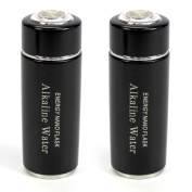2 Pack Black Alkaline Energy Flask Ioniser Water Bottle Ion Cup with Cases NEW