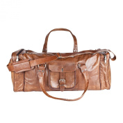 81stgeneration Genuine Leather Vintage Weekend Travel Sports Gym Leisure Bag Holdall