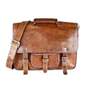 81stgeneration Genuine Leather Satchel Messenger Shoulder Briefcase Vintage Laptop Bag