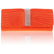 Zarla Ladies Designer Clutch Bags Pleated Women Satin Bridal Party Prom Diamante Shoulder Handbags Black Silver Gold Red Purple Navy Royal Blue Yellow Fuchsia Pink Coral Orange Indigo Voilet