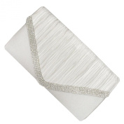 White and Studded Crystal Envelope Clutch Bag