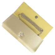 Gold Pleated Satin and Crystal foldover Clutch Bag