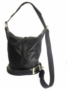 Genuine Soft Italian Leather Black Shoulder Bag, Ruck Sack or Back Pack Handbag