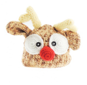 Baby Boys Girls Handmade Chunky Knit Reindeer Antler Hat Photography Prop Christmas