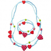 Haba Hearts Necklace and Matching Bracelet - Hearts Necklace and Matching Set