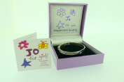 Jo for Girls Sterling Silver Christening bangle with pink Cubic Zirconia with ID plate.