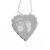Silver Plated Hand or Foot Prints Heart Pendant - Grey Prints