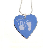 Silver Plated Hand or Foot Prints Heart Pendant - Blue Prints