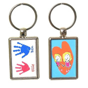 Hand or Foot Print Keyring with Child's Artwork on Reverse - White Background with Blue & Pink Prints